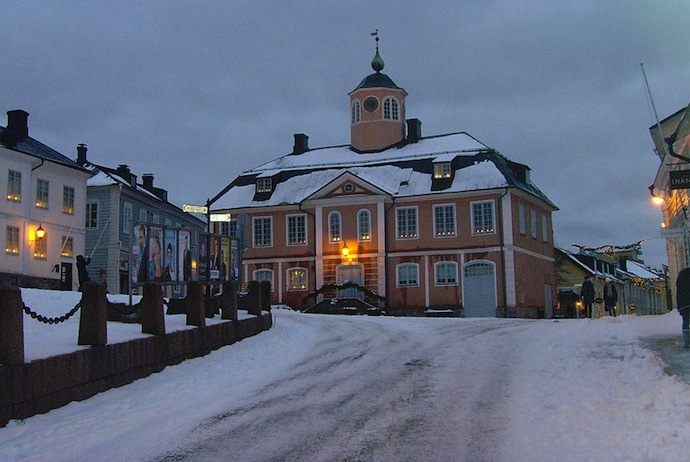 Porvoo, Finland has an old town hall and pretty waterfront