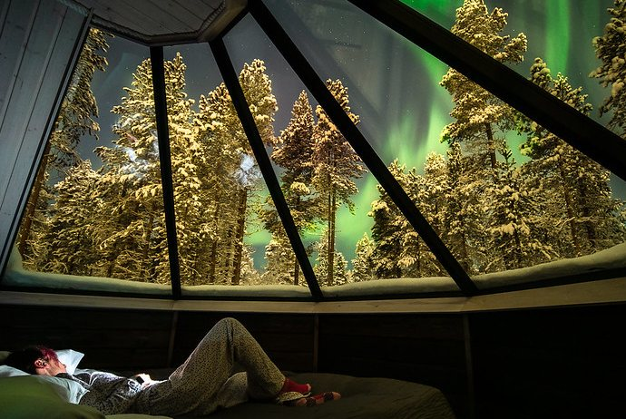 Finland has plenty of glass-roofed cabins for watching the northern lights in bed