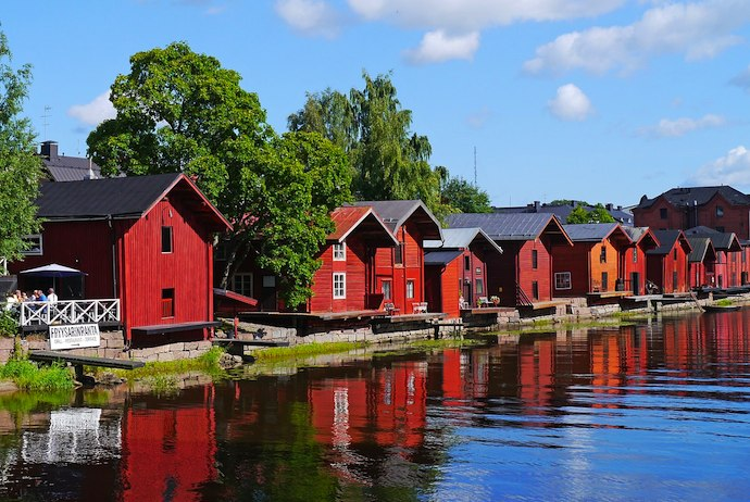 Porvoo, Finland is known for its red wooden riverfront houses