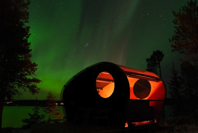 Glamping pods with a glass roof and walls mean that you can see the northern lights in Sweden without leaving your bed.