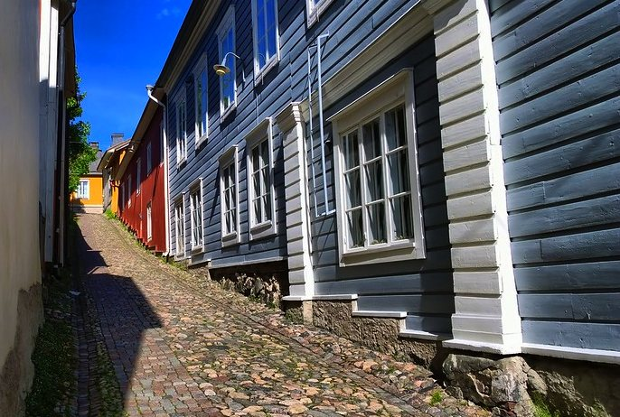 Porvoo, Finland has steep cobbled back streets lined with wooden houses