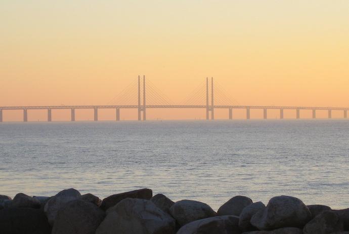 The iconic Øresundsbron bridge links Denmark and Sweden
