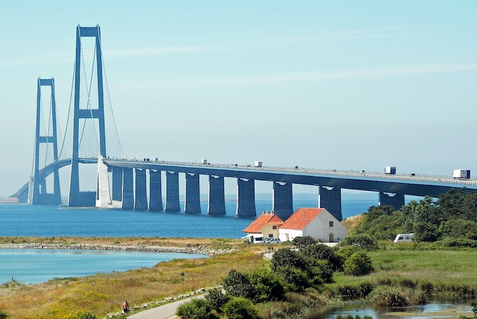 The Great Belt Fixed Link  runs from Funen to Zealand in Denmark
