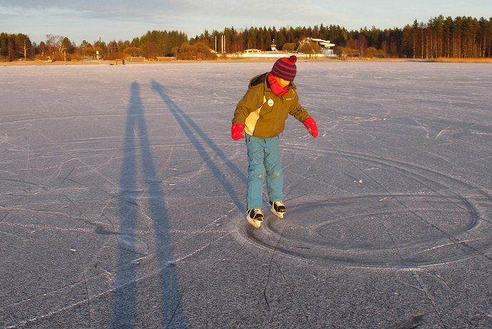 Ice skating is a good cheap activity to enjoy in northern Sweden