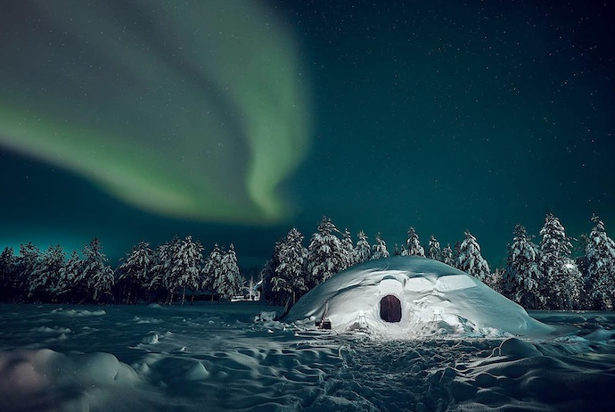 Keep warm in this snow-built igloo in FInland