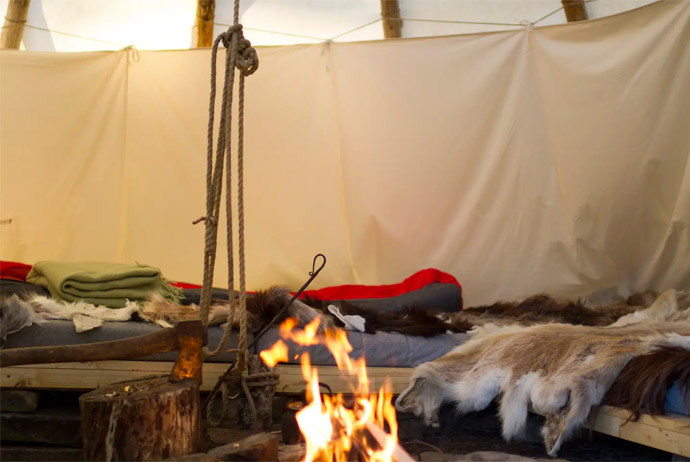You can warm up by the fire in this unusual Scandi airbnb