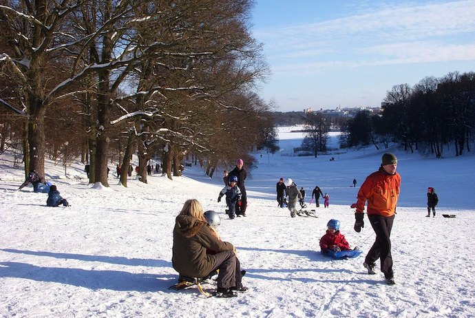 Winter in Stockholm: go toboganning in Haga Park