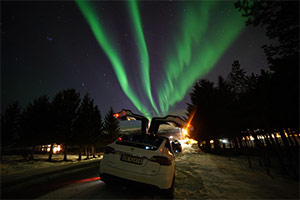 Northern Lights - Luxury TeslaX Electric Car, Tromsø
