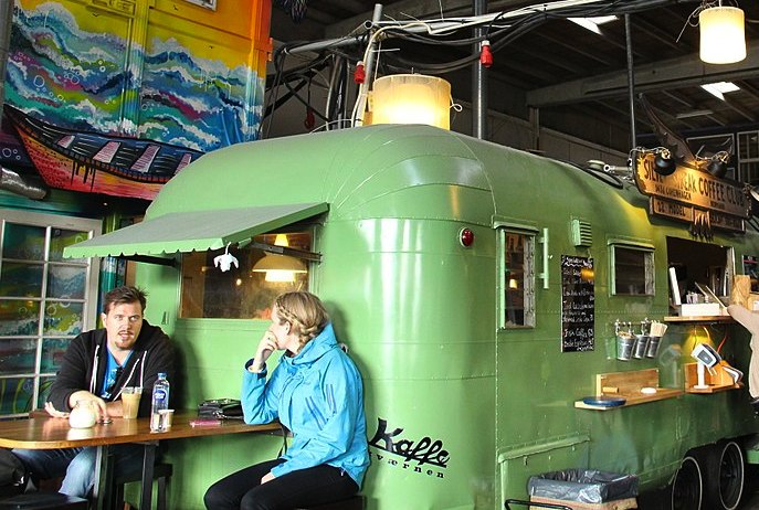 Fill up cheaply at street food trucks when on a budget trip to Scandinavia