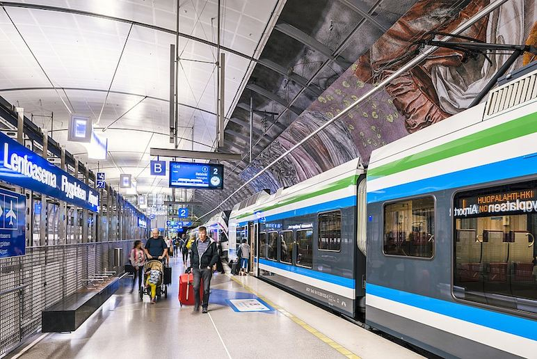 The train is the cheapest way to get from Helsinki airport to the city centre