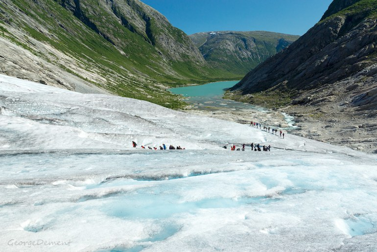 You can go hiking on the ice in Norway