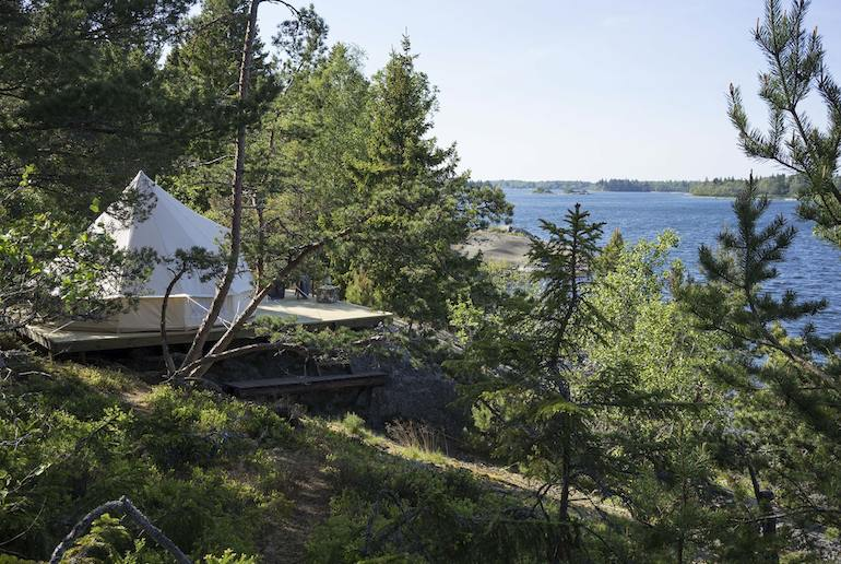 Try glamping on an island in the Stockholm Archipleago