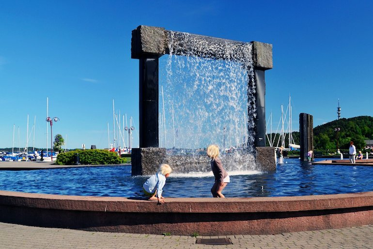 The granite fountains in Kristiansand are free for children to enjoy