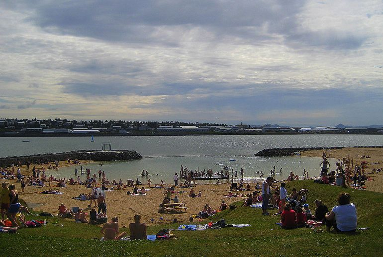 You can swim at Reykjavík's Nauthólsvík beach year-round – it's one of the 40 best free and cheap things to do in the city.