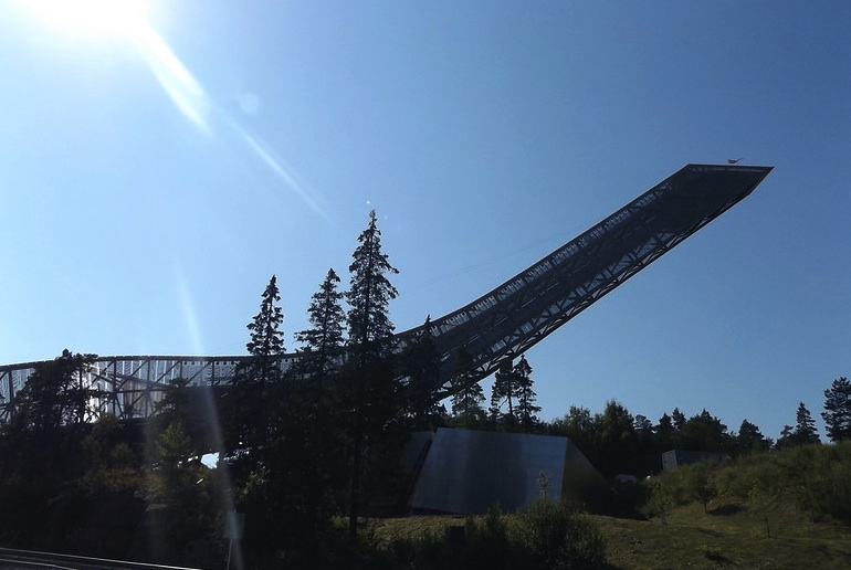 The Holmenkollen ski jump tower gives great views of Oslo in winter