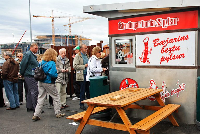 Have a hot dog – a cheap way to eat in  Reykjavík.