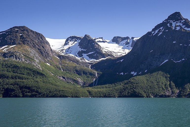 Look out for the Svartisen glacier, along one of Norway's scenic drives.