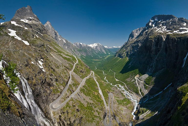 View of the Trollstigen, one of Norway's scenic drives