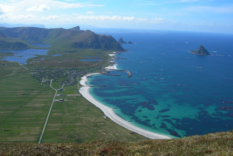 Bleik beach looks almost Caribbean, along one of Norway's scenic routes.
