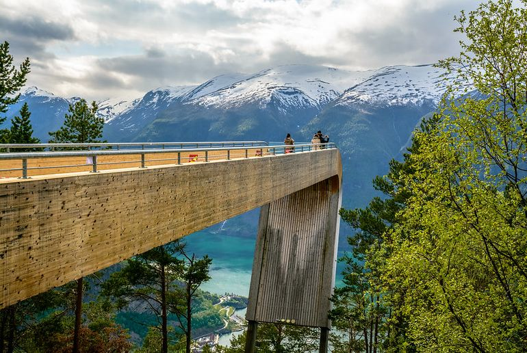 The Stegastein viewpoint on one of Norway's scenic routes