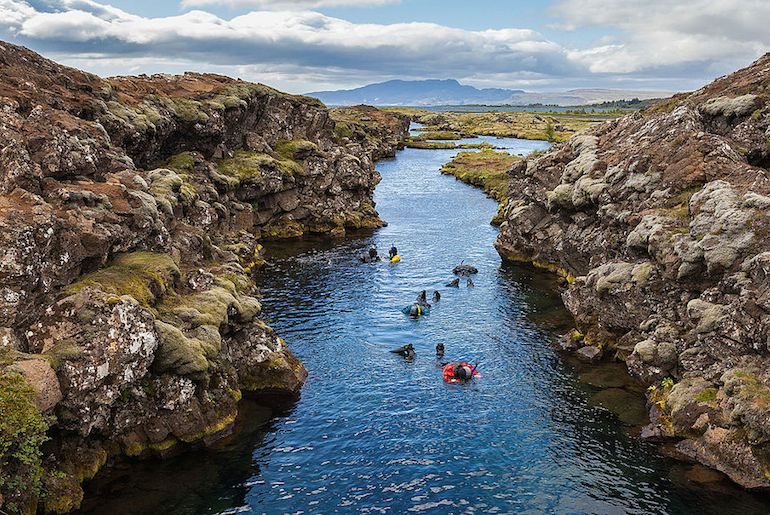 Snorkelling at Silfra is a great day tour from Reykjavik