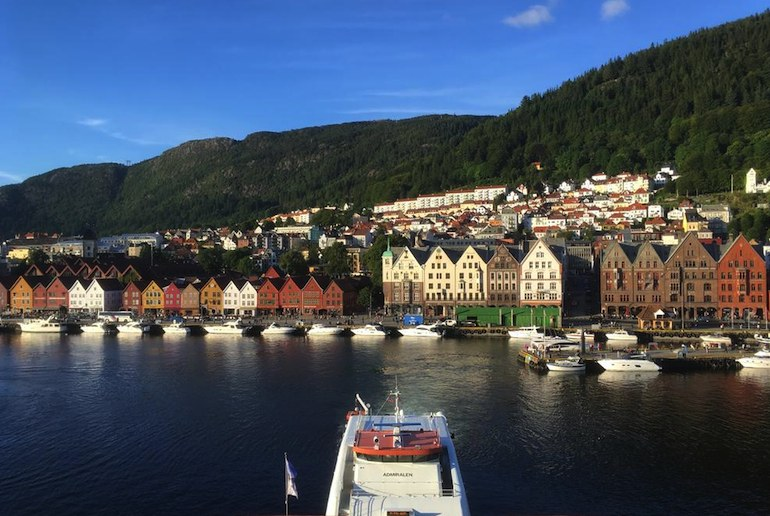 This apartment in Bergen has great views over the waterfront and the Bryggen