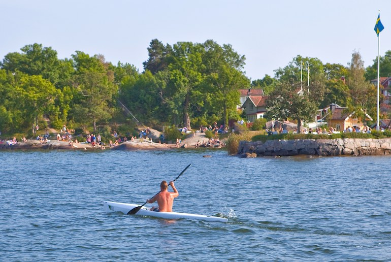 Summer is the best time to go kayaking in Sweden