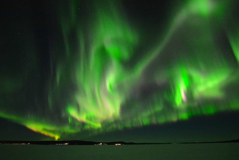 Porjus is a great spot to view the northern lights in Sweden