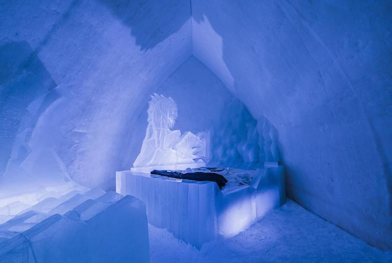 Chill out in an ice room in the Arctic Snow Hotel in Finland