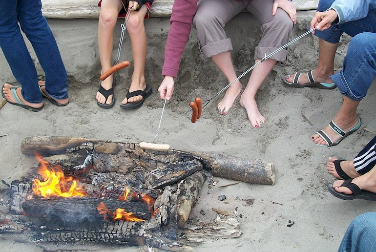A beach barbecue with friends in Denmark is the epitome of hygge.