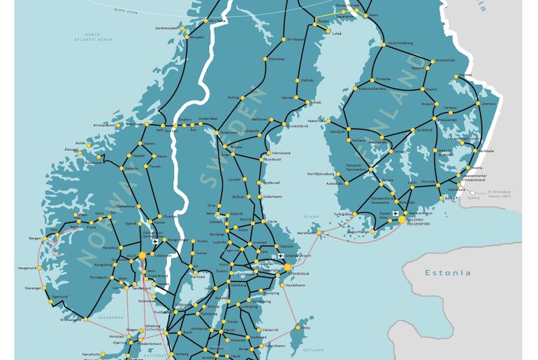 Plan your journey with this cool rail map of Scandinavia