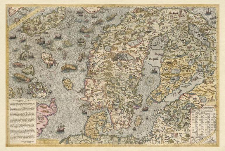This beautiful antique map is one of our favourite cool maps of Scandinavia