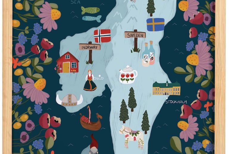 This simple Folk Art illustration is a cool map of Scandinavia