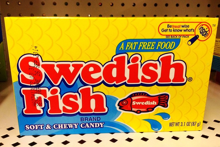 Swedish Fish come in packets of all sizes