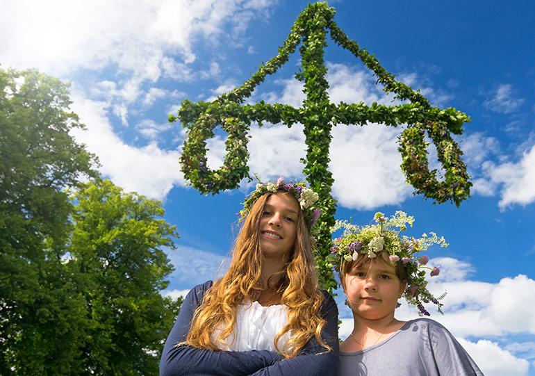 Swedish girls at Midsummer celebrations in Sweden