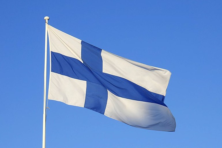 The Finnish flag is a blue cross on a white background