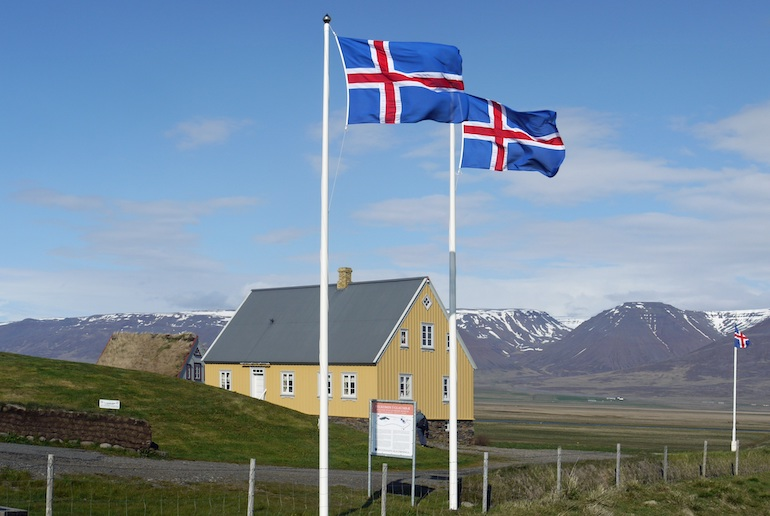 The Icelandic flag represents fire, snow and mountains