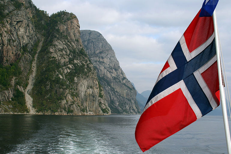 Norway's flag is red, white and blue and has the same Nordic Cross as many of the other flags of scandinavia