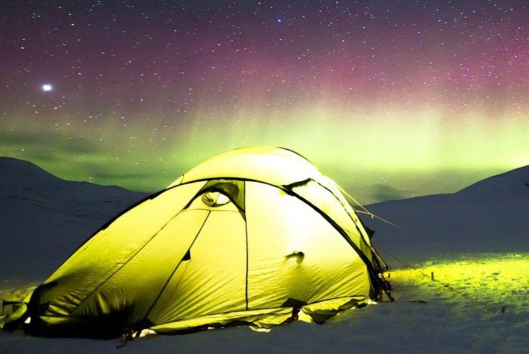 If you camp in Finland in winter, you have a good chance of seeing the northern lights